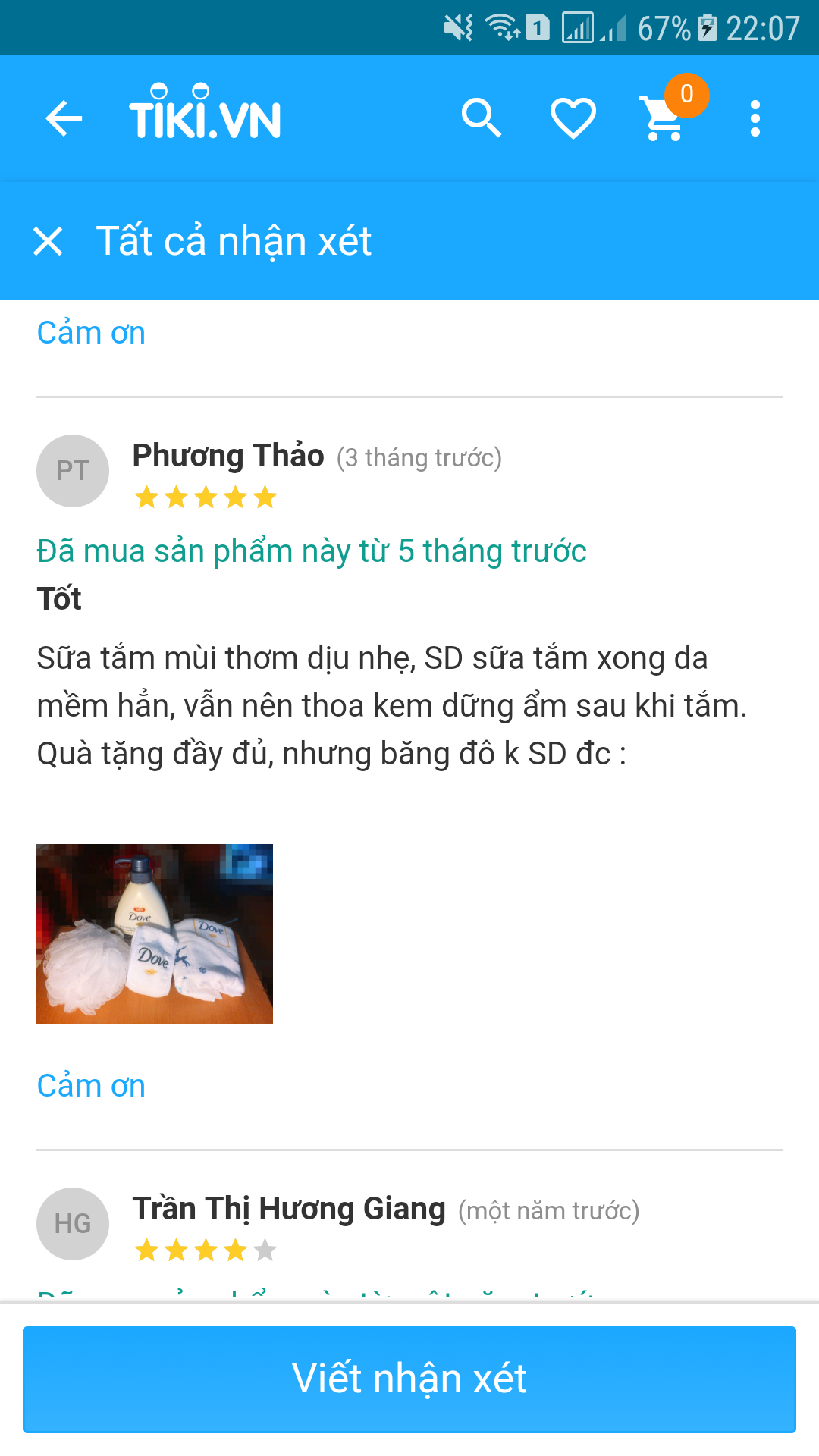 review sữa tắm dove deely