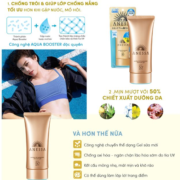 Công dụng của gel chống nắng Anessa Perfect UV Sunscreen Skincare Gel